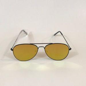 Accessories - Flat Black Frame Mirrored Aviator Sunglasses!.